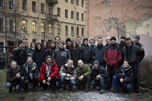 03 December 2013: Group shot of 26 of the Arctic 30 in St.Petersburg after their release on bail